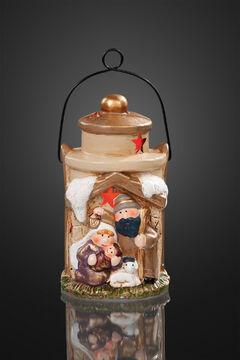 LED Laterne RGB Keramik Weihnachten Jesus Kind Deko Figur Tischdekoration