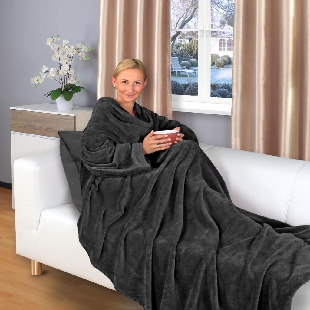 kuscheldecke mit rmeln 200 x150 cm tv decke snug tagesdecke decke sofadecke ebay. Black Bedroom Furniture Sets. Home Design Ideas