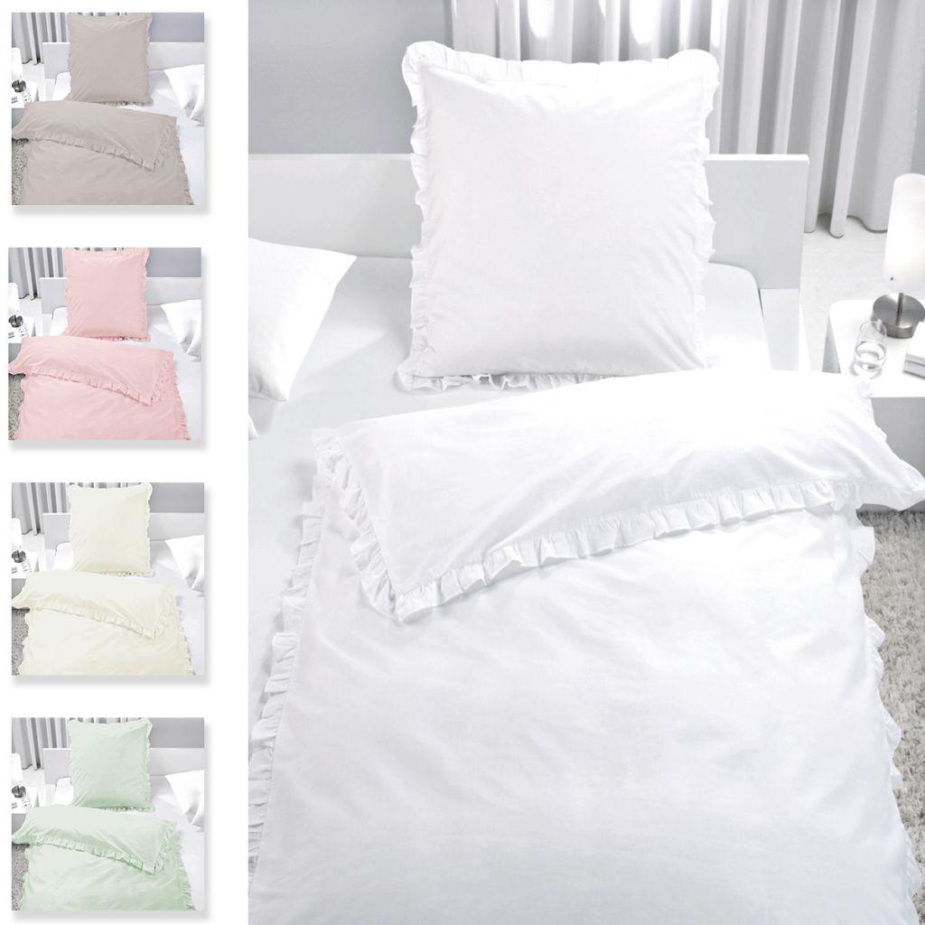 Bettwäsche Set Rüschen 100 Baumwolle Reißverschluss Romantik