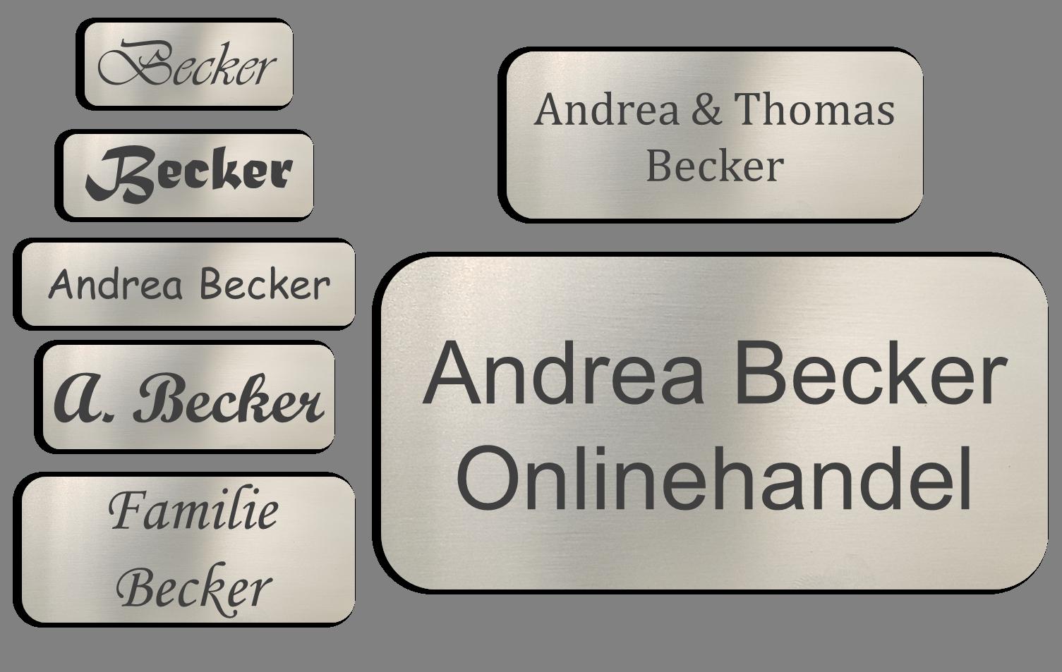 Edelstahl-V2A-Tuerschild-Namensschild-Briefkastenschild-Klingelschild-mit-Gravur