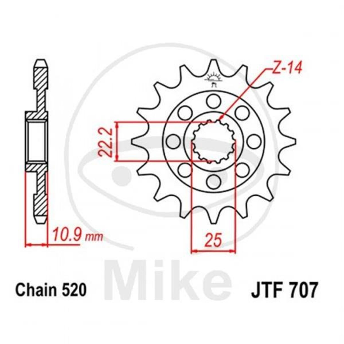 JT Sprockets Pignon 15 dents Division 520 feinverzahnt Intérieur-ø 22,2//25 mm