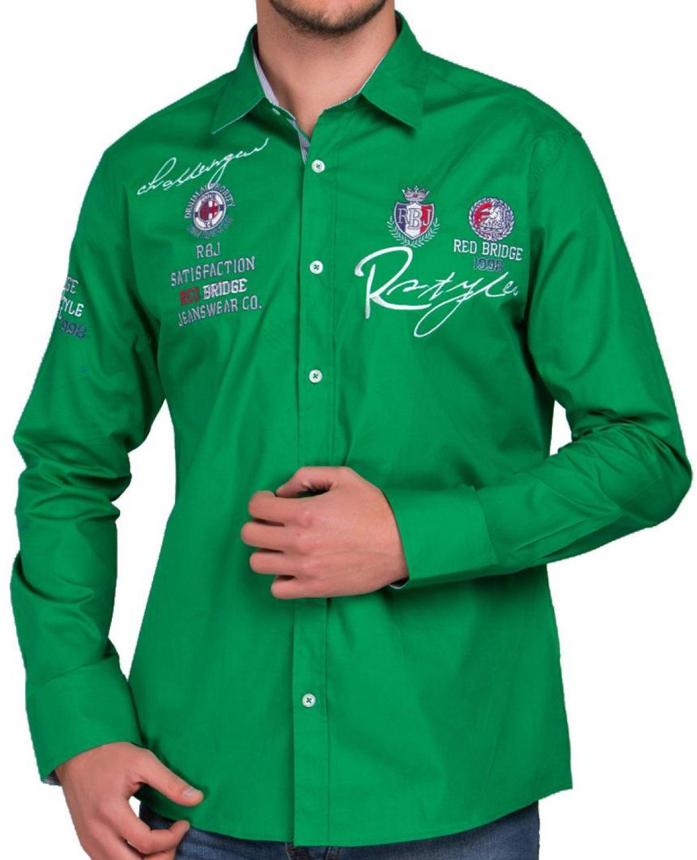 R-2130-green Red Bridge Herren R-Style Design Regular Fit Langarm Hemd grün