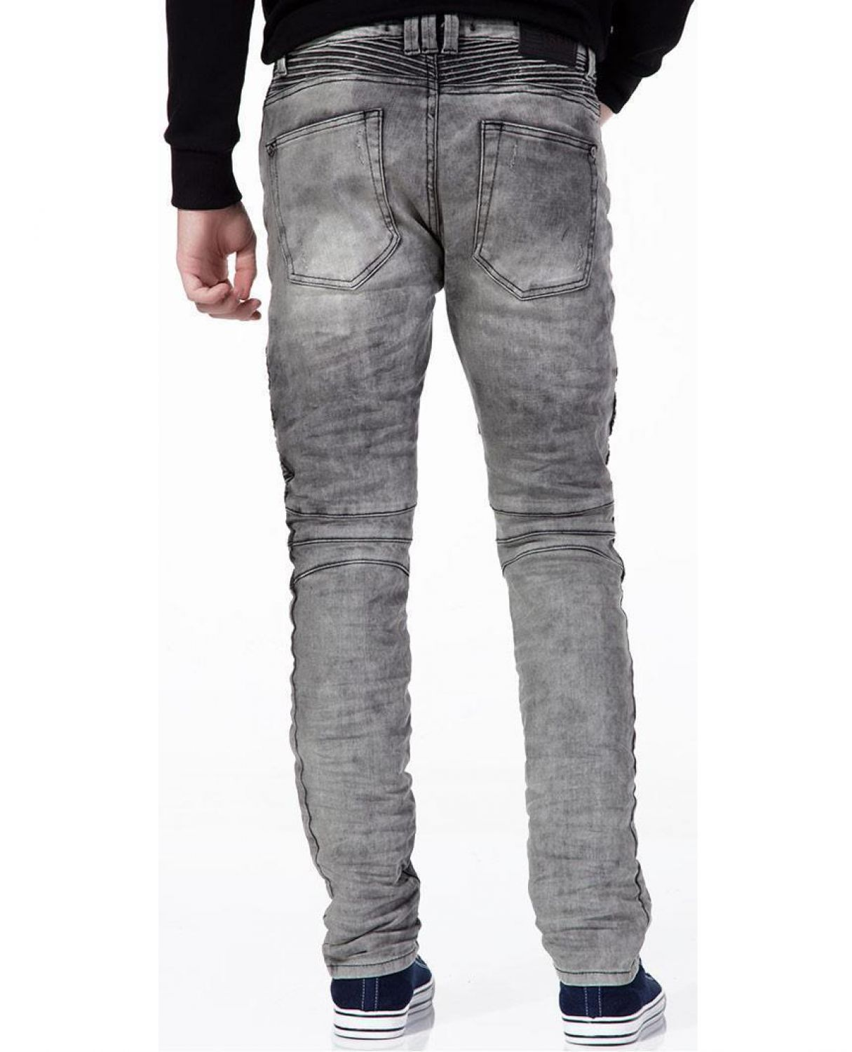 M4039-grey Red Bridge men's biker skinny tube denim jeans pants denim grey