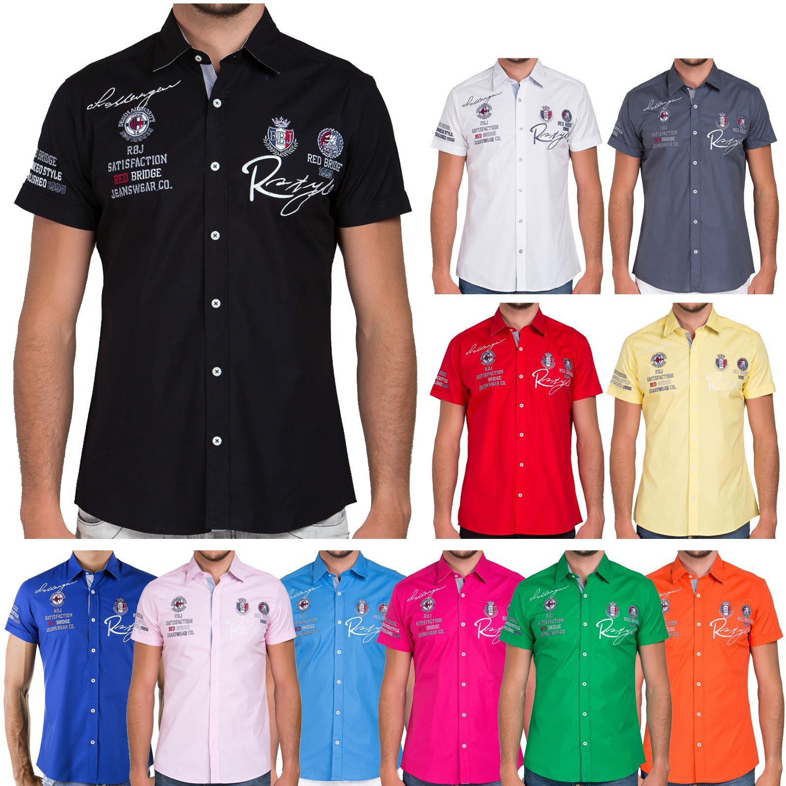 Redbridge Uomo Camicia Tempo Libero Camicia regular fit manica lunga polo ricamato Basic