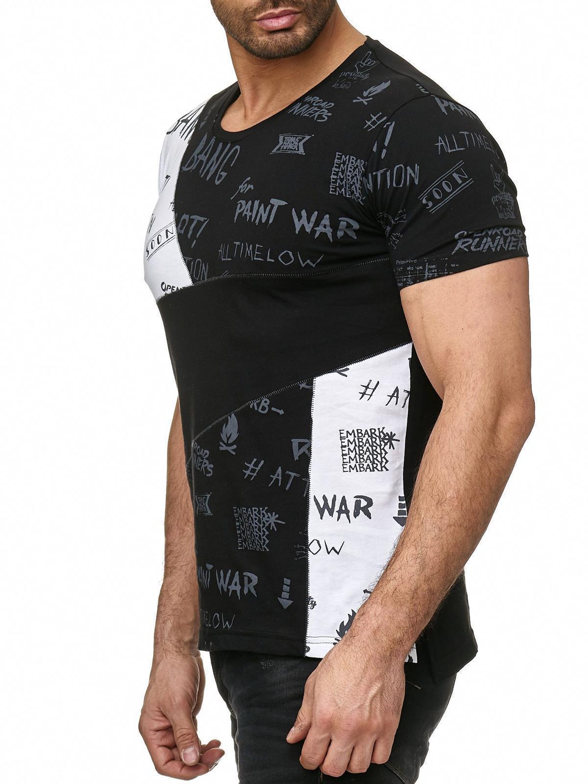 Redbridge Herren T-Shirt Bang TShirt Freizeitshirt Patchwork Sketches Schwarz