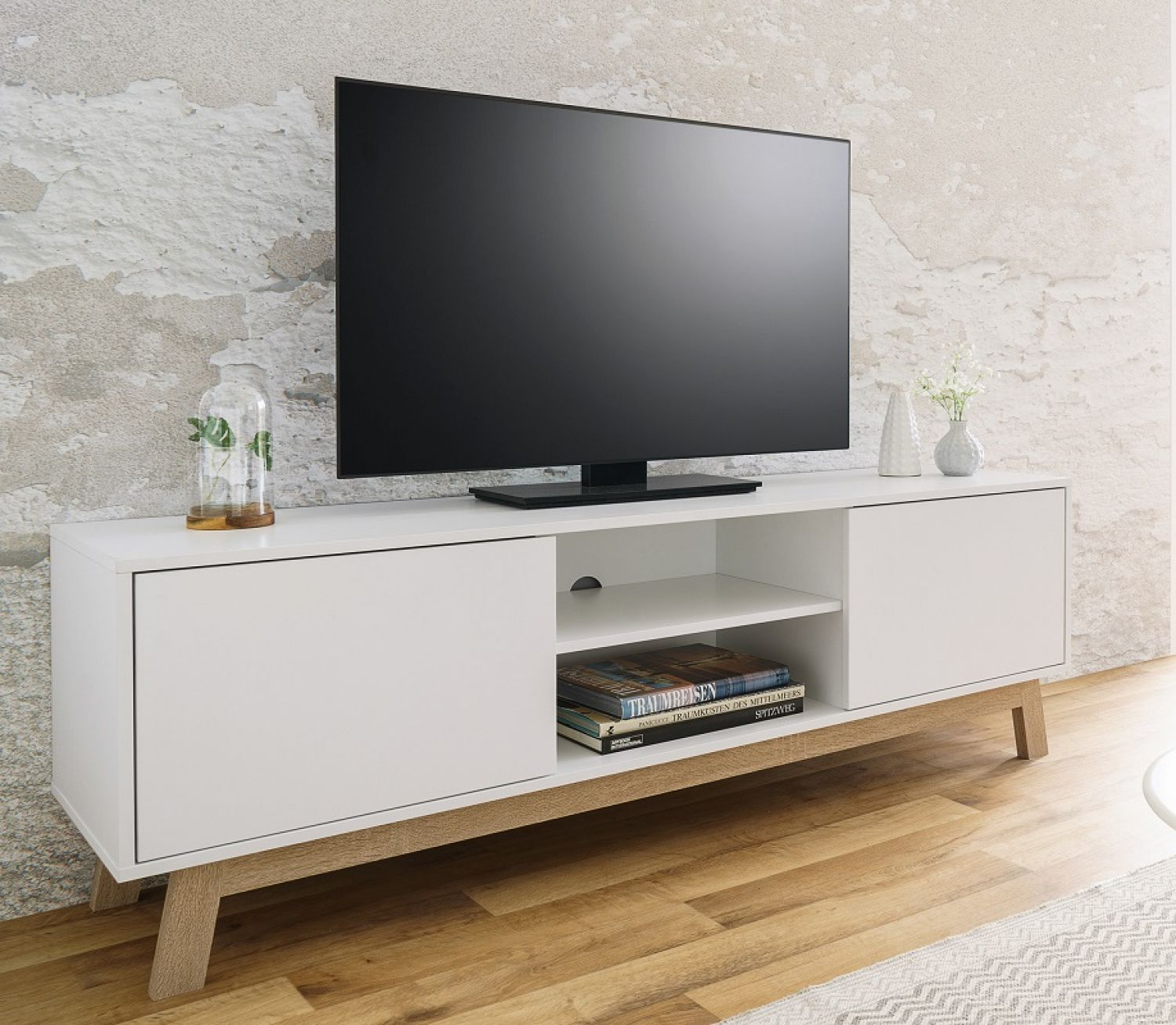 tv schrank lowboard skandinavisch tv board fernsehschrank wei neu ebay. Black Bedroom Furniture Sets. Home Design Ideas