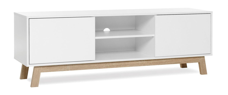 tv schrank lowboard skandinavisch tv board fernsehschrank wei neu ebay. Black Bedroom Furniture Sets. Home Design Ideas