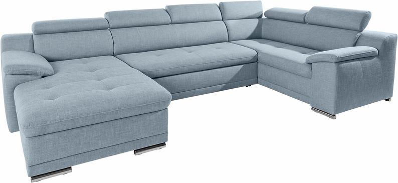 Wohnlandschaft Andiamo Sofa U Form Mit Bettfunktion Struktur Stoff