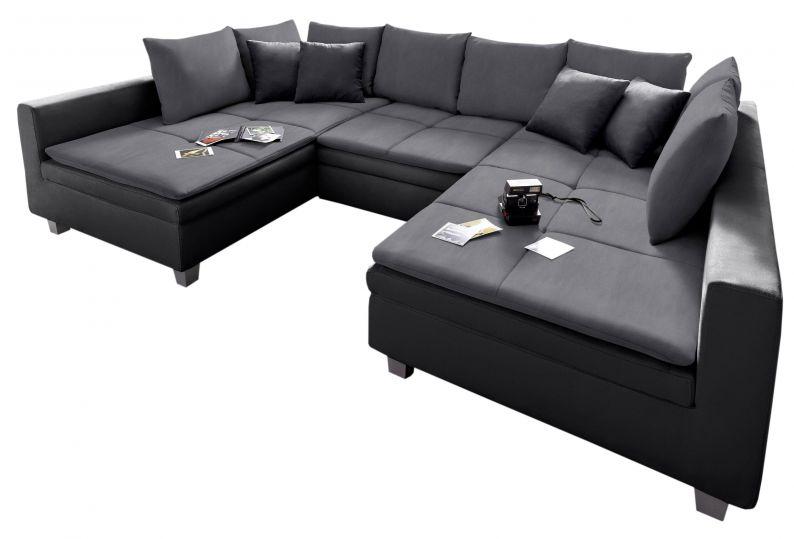 Wohnlandschaft Pop U Form Sofa Microfaser Bezug In Schwarz