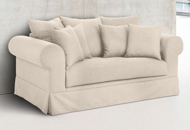 2 sitz couch landhaus palmina sofa in hussen optik beige webstoff fein ebay. Black Bedroom Furniture Sets. Home Design Ideas