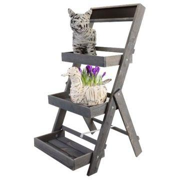 3 Ver.Farben Blumenständer Garten Etagere Blumenregal treppe Pflanzentreppe Holz
