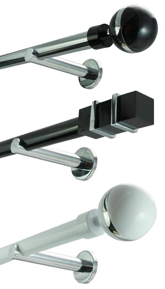 25mm Metall Gardinenstange Vorhangstange 1-läufig Weiß Glanz Modern