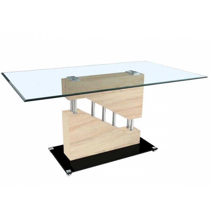 Küchentisch Sonoma Eiche: Esstisch 160x90cm Holz Glas Sonoma Eiche Tisch Chrom