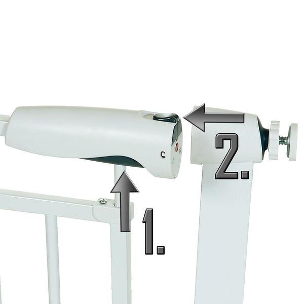 Treppengitter Treppenschutzgitter Türgitter Auto-Close ohne Bohren 76-97 cm