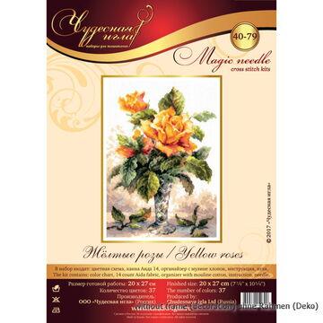 """MAGIC NEEDLE /""""Yeliow Roses/"""" Cross Stitch Kit WONDERFUL NEEDLE 40-79"""
