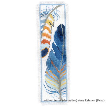 Vervaco Cross Stitch Bookmark Blue Feathers PN-0170379 Set of 2