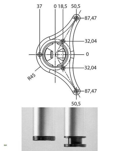 Tischbein Logo 110 cm höhenverstellbar 3 cm Stützfuss Theke chrom max 150 kg