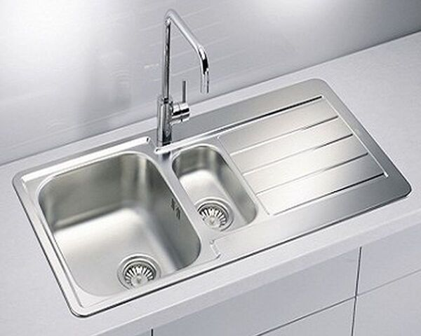 Einbauspüle Edelstahl 98 cm Küchenspüle 1,5 Spülbecken Abtropffläche *1064281