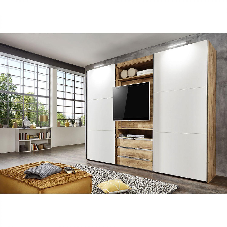 Schwebetürenschrank Schlafzimmer Kleiderschrank 300 cm Schrank Plankeneiche WEIß   eBay