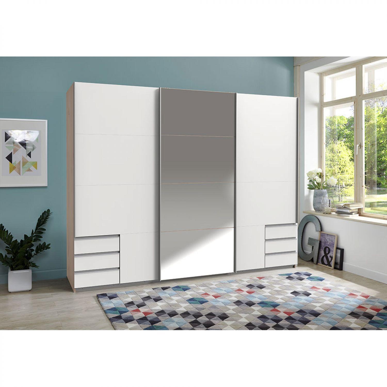 SCHWEBETÜRENSCHRANK Schlafzimmer Kleiderschrank Schrank 270 cm Hickory oak Weiß   eBay