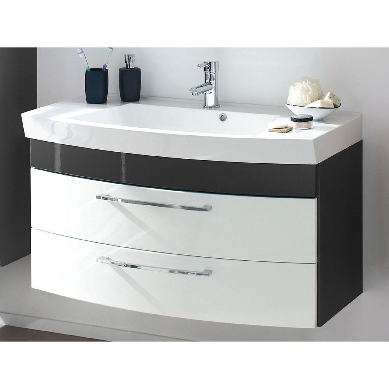 Bad badm bel set hochschrank waschplatz spiegelschrank anthrazit hochglanz wei ebay for Badmobel anthrazit hochglanz