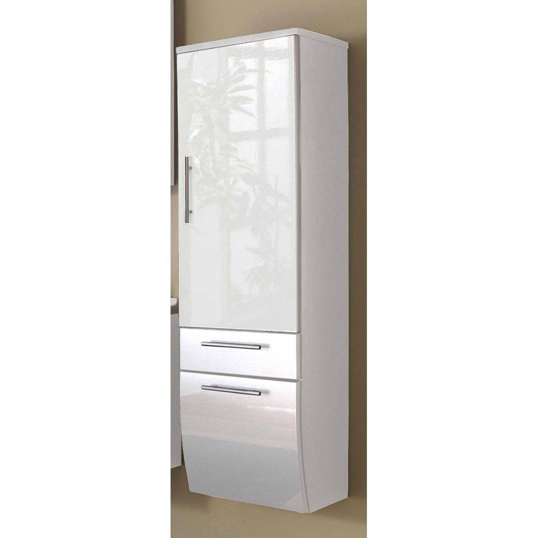 Bad Badezimmer Standschrank HOCHSCHRANK Anrichte Midischrank Schrank Beton WEIß
