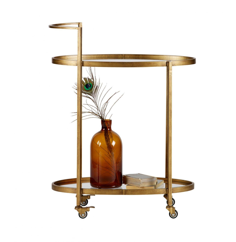 servierwagen barwagen trolley push teewagen metall glas messingfarben messing ebay. Black Bedroom Furniture Sets. Home Design Ideas