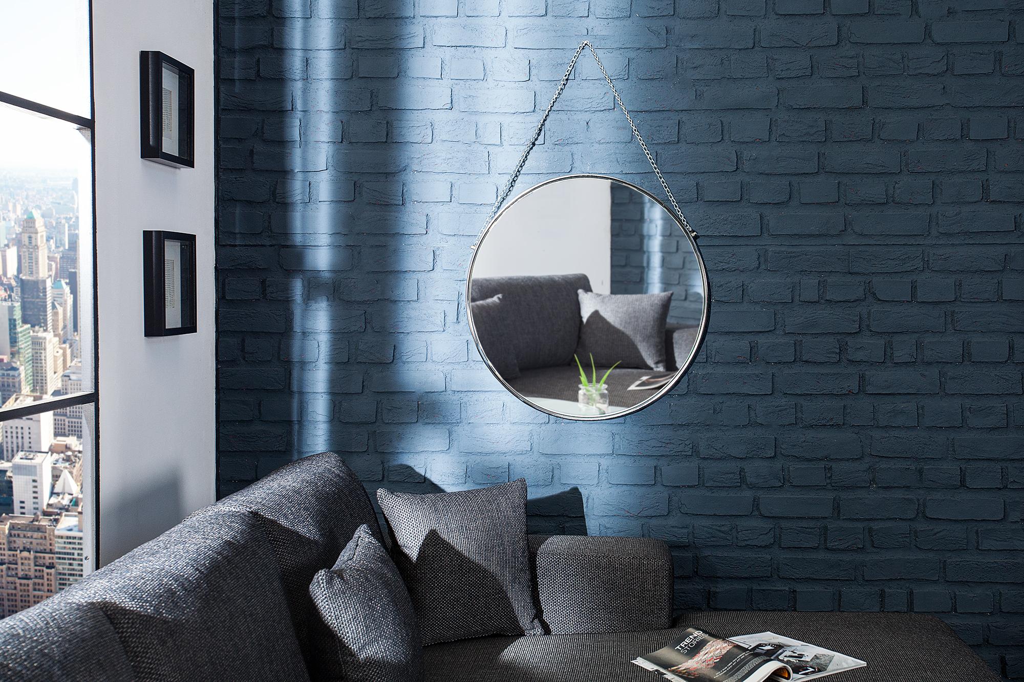 Wandspiegel Badspiegel Rundspiegel THEODOR Bad Flur Metall 45 cm Farbauswahl