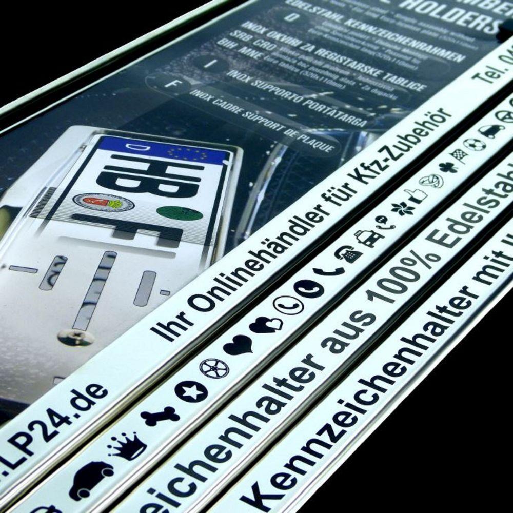 2 x Kennzeichenhalter mit Wunschtext aus Edelstahl poliert mit ...