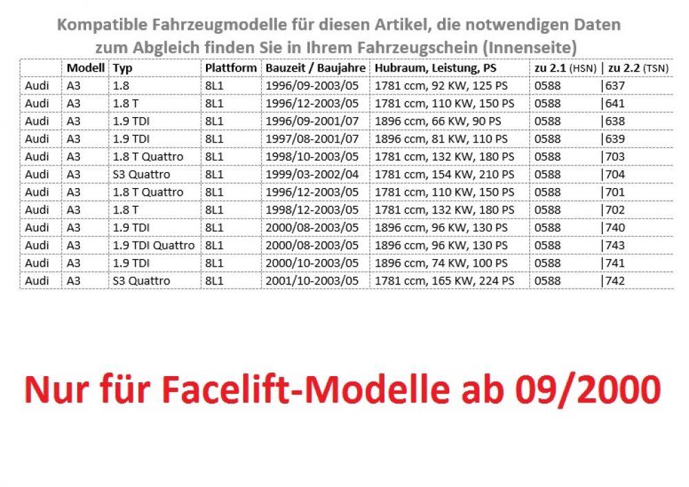 Schaltknauf Schaltsack Rahmen für Audi A3 8L 00-03 6 Gang Facelift S Line Look