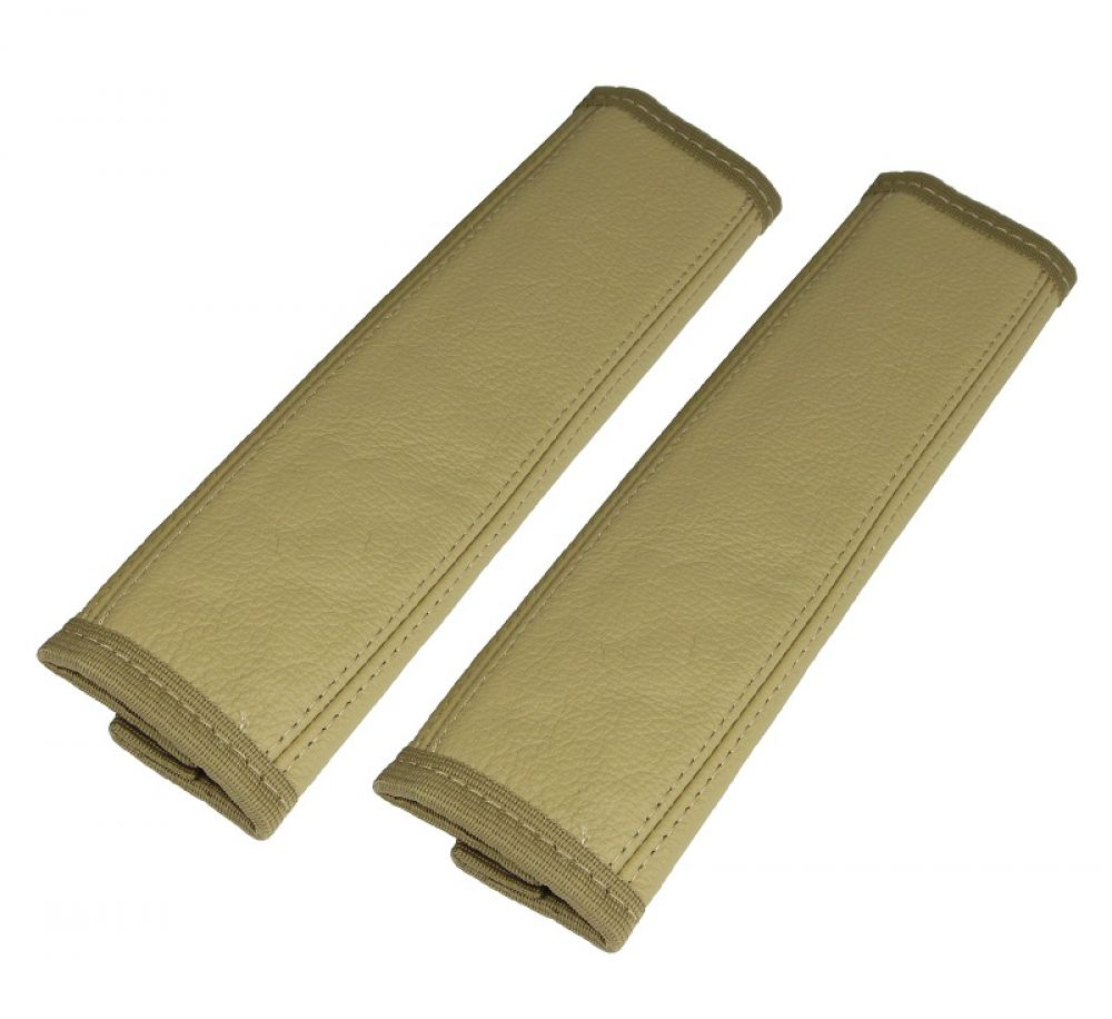 2 Stück Gurtschoner in beige Gurtpolster 100% Echt Leder in beige ...