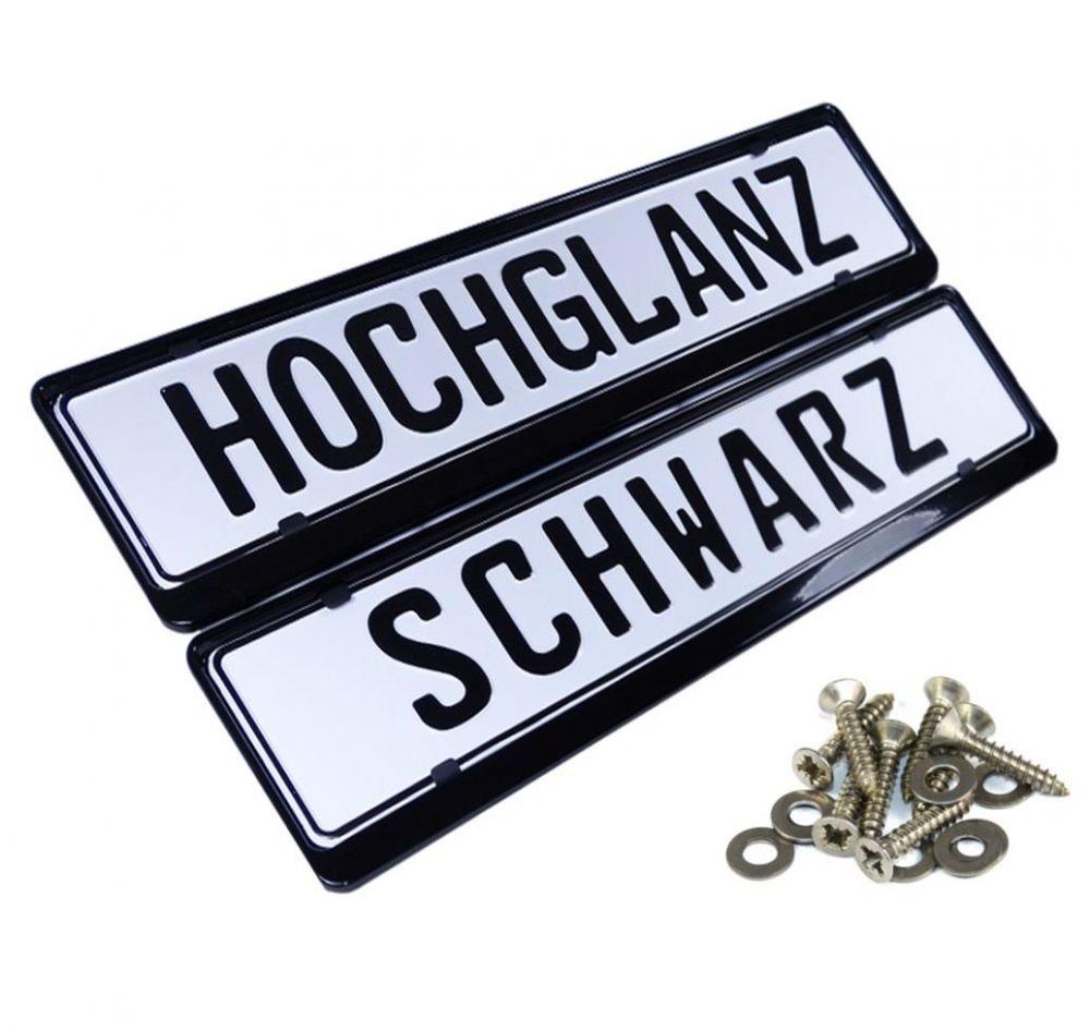 2x Kennzeichenhalter aus Stahl in Schwarz Hochglanz ...