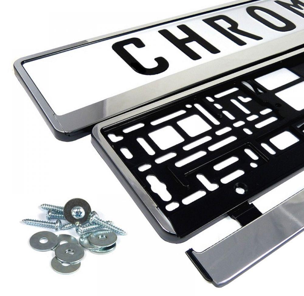 2 x Kennzeichen in Chrom Optik Nummernschild Rahmen Halter *Neu*   eBay