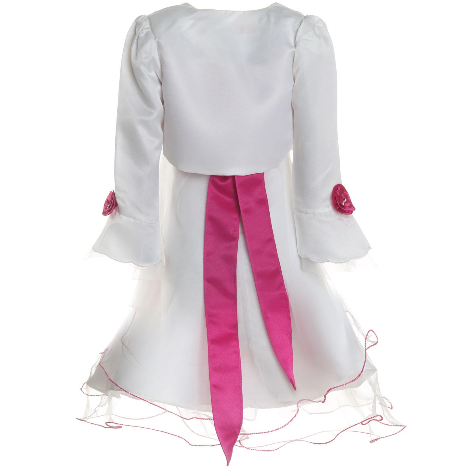 Maedchen-Kinder-Kleid-Peticoat-Festkleid-Lang-Arm-Kostuem-mit-Bolero-Rose-21476 Indexbild 11