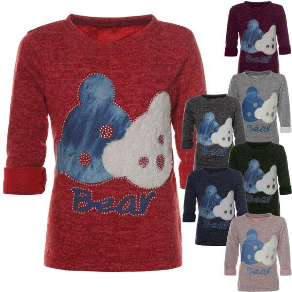 Kinder Mädchen Sweat Shirt Pullover Pulli Bekleidung Lang Arm Rundhals 21645
