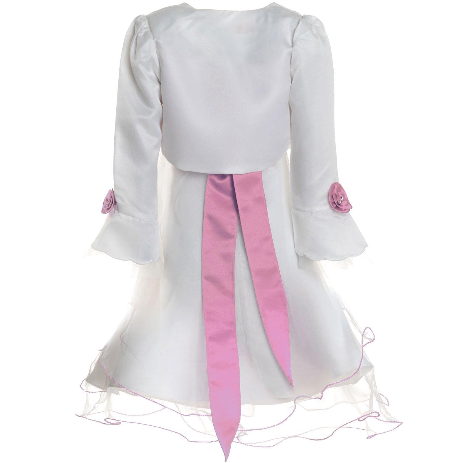Maedchen-Kinder-Kleid-Peticoat-Festkleid-Lang-Arm-Kostuem-mit-Bolero-Rose-21476 Indexbild 15