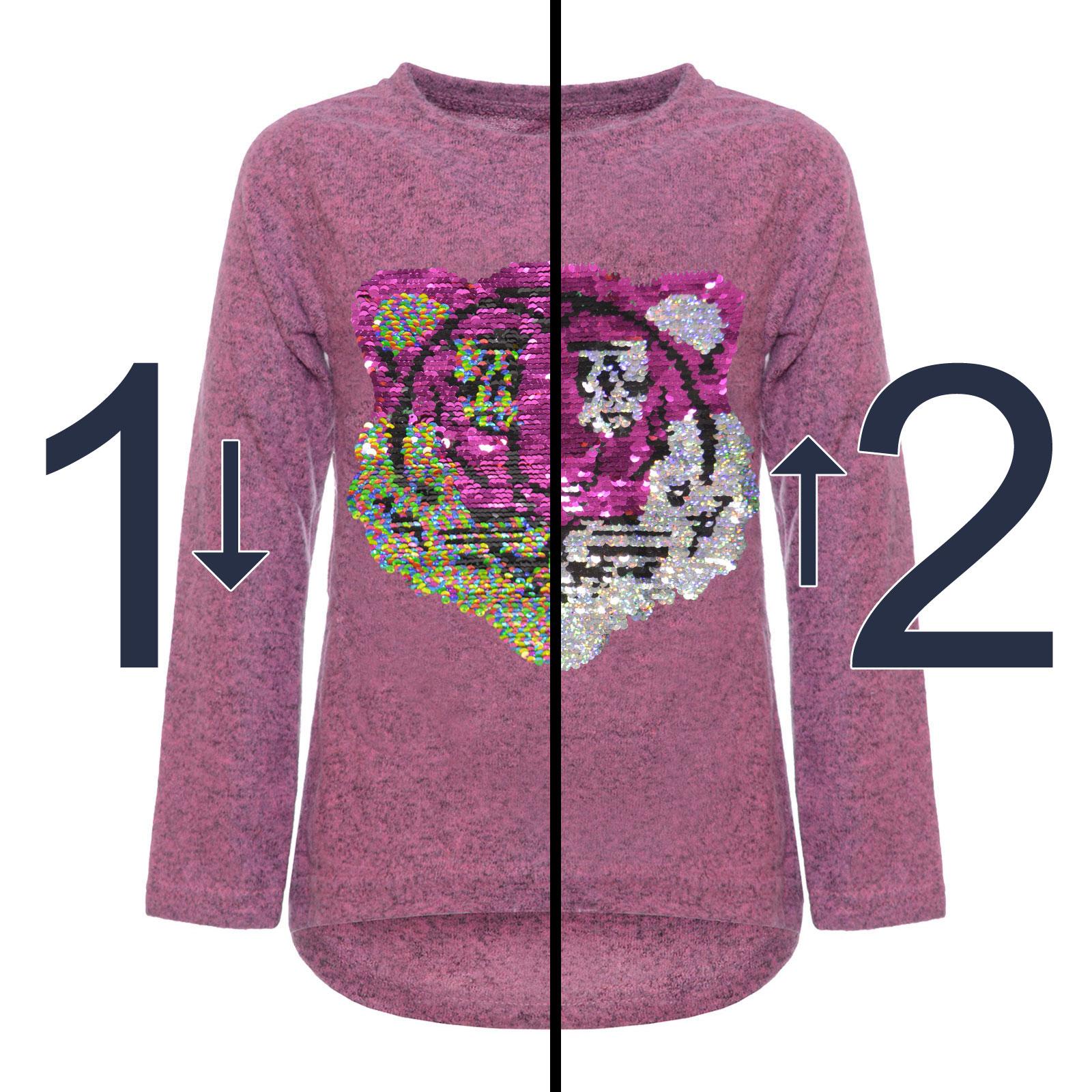 31374a1295 Kinder Mädchen Wende Pailletten Sweatshirt Pullover Pulli Langarm ...