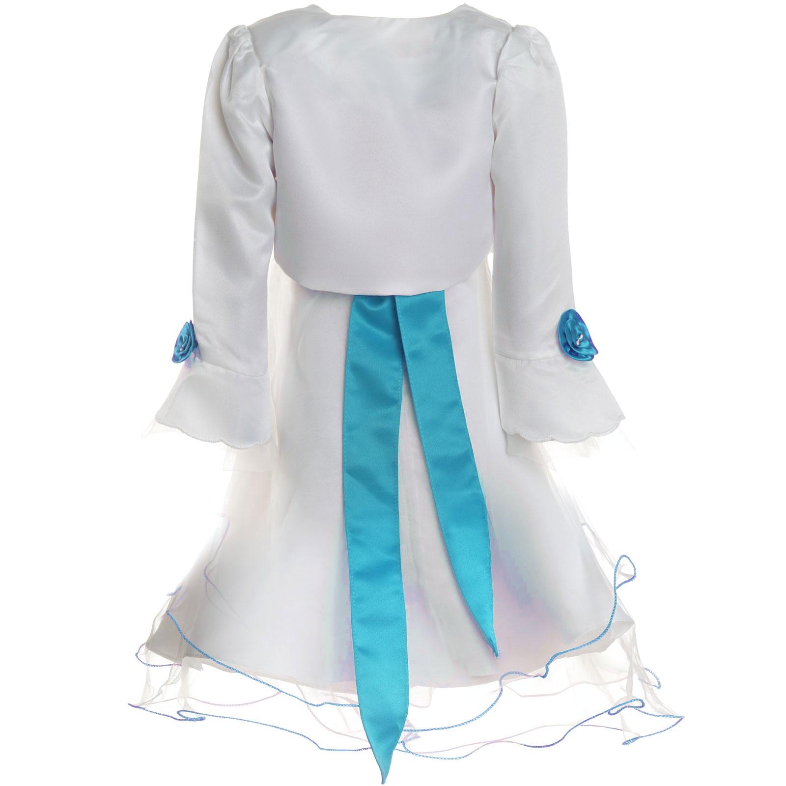 Maedchen-Kinder-Kleid-Peticoat-Festkleid-Lang-Arm-Kostuem-mit-Bolero-Rose-21476 Indexbild 19