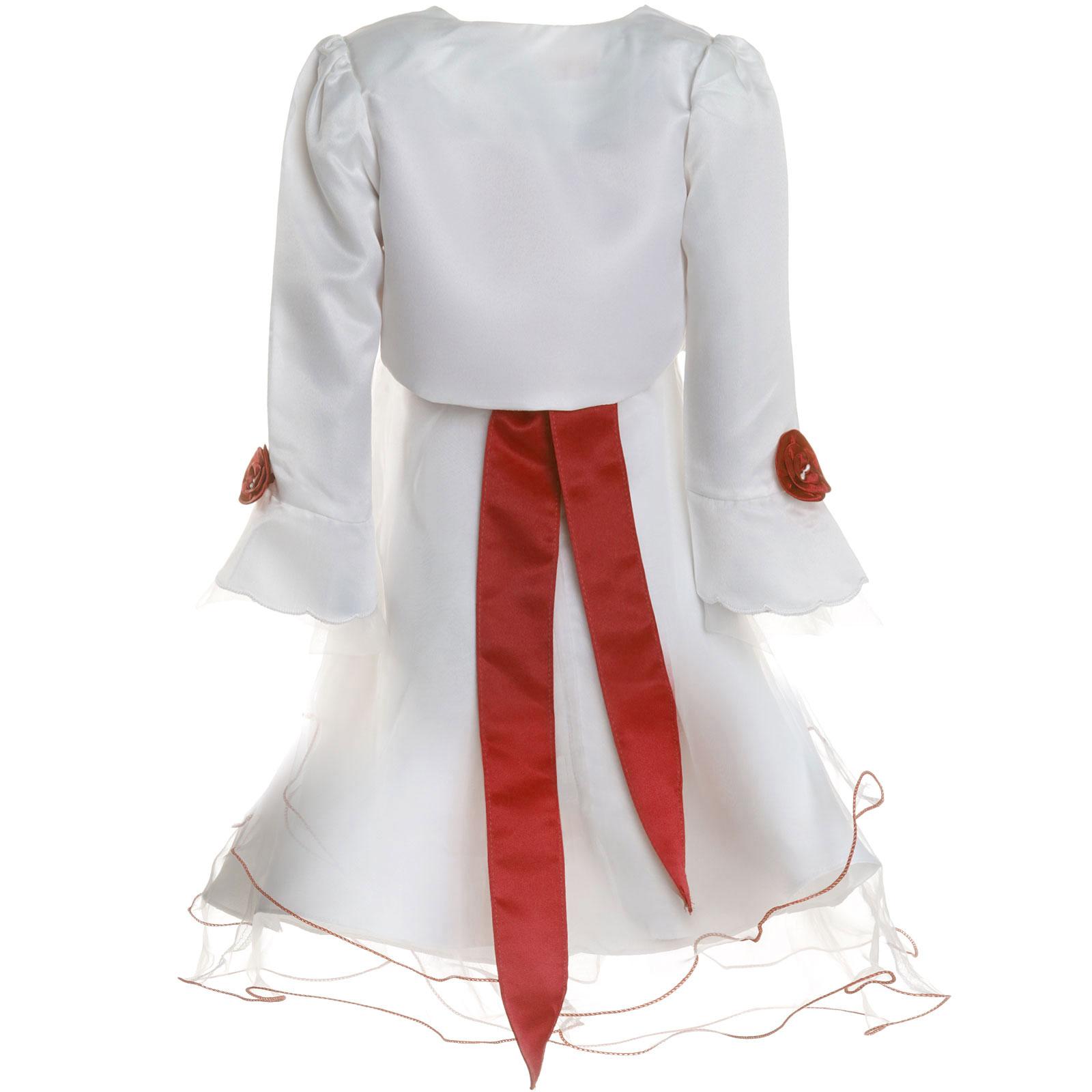 Maedchen-Kinder-Kleid-Peticoat-Festkleid-Lang-Arm-Kostuem-mit-Bolero-Rose-21476 Indexbild 3