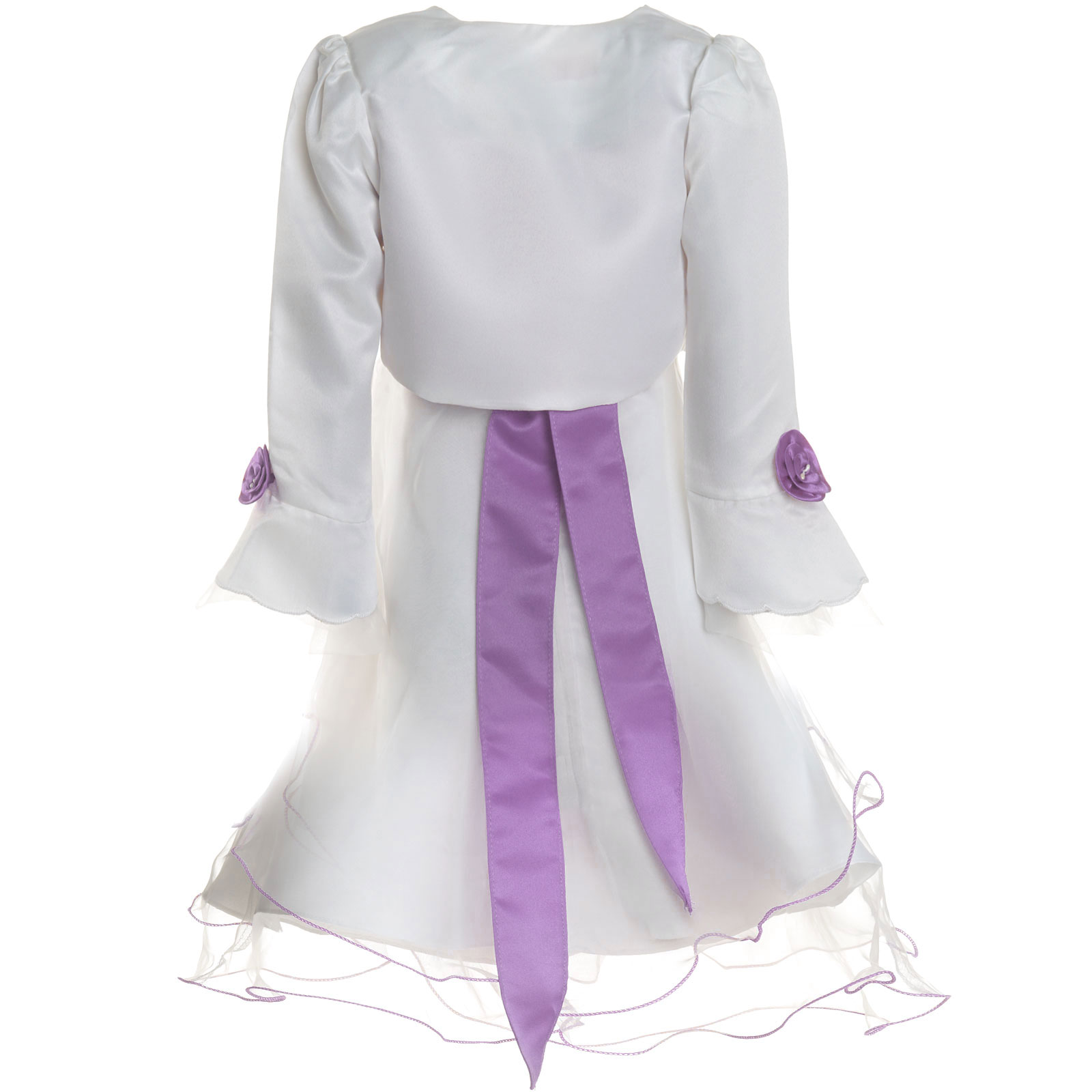 Maedchen-Kinder-Kleid-Peticoat-Festkleid-Lang-Arm-Kostuem-mit-Bolero-Rose-21476 Indexbild 7