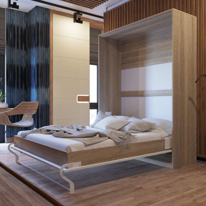 schrankbett 160 cm vertikal smartbett verschiedene farben schrankklappbett ebay. Black Bedroom Furniture Sets. Home Design Ideas