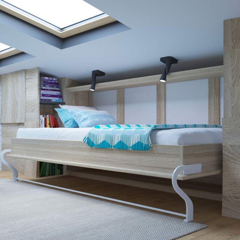 Schrankbett 90 cm smartbett farbauswahl wandklappbett inkl holzlattenrost aus bu ebay - Wandklappbett selber bauen ...