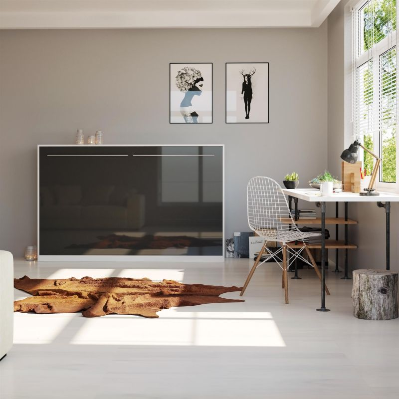 schrankbett 120cm horizontal smartbett farbauswahl wandbett inkl holzlattenrost ebay. Black Bedroom Furniture Sets. Home Design Ideas