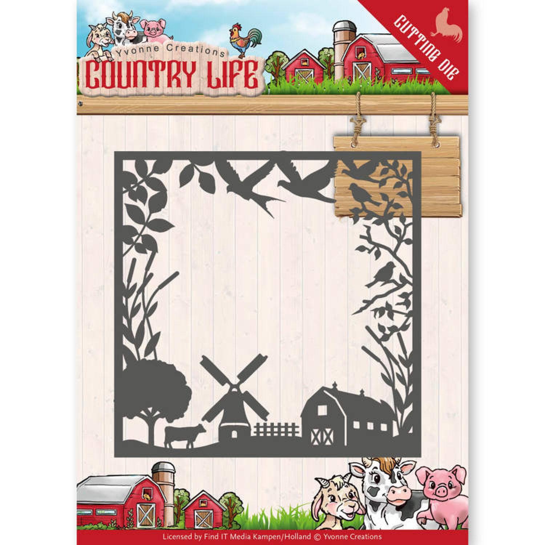 Stanzschablone - Yvonne Creations - Country Life - Bauernhof Rahmen ...