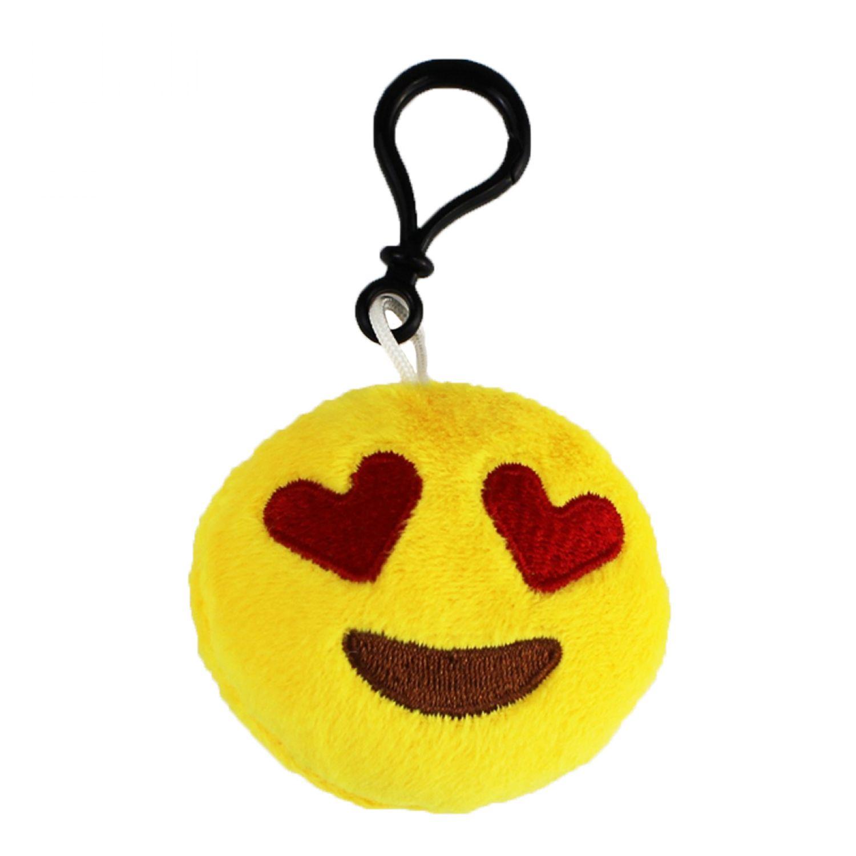 Emoji schlüsselanhänger herzaugen smiley aus plüsch smiling face with heart shaped eyes verliebt hochwertiger emoticon anhänger mit schlaufe und