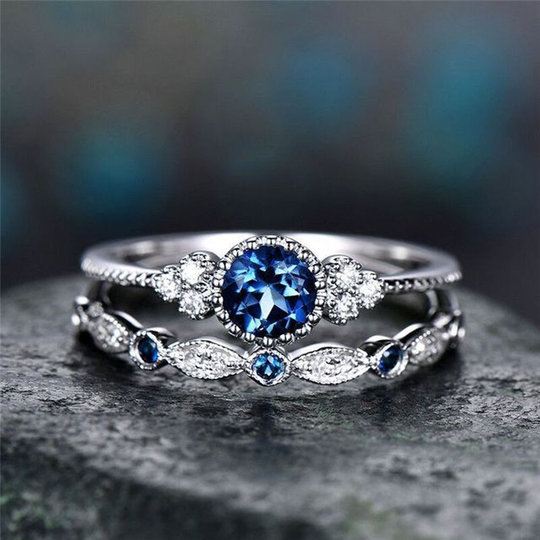 Ring Damenring Fingerring 2 Ringe Kombination Schmuck versch Größen /& Farben