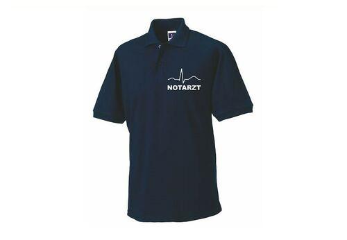 Hemd navy mit Brust und Rückenaufdruck Rettungsdienst Polo-Shirt