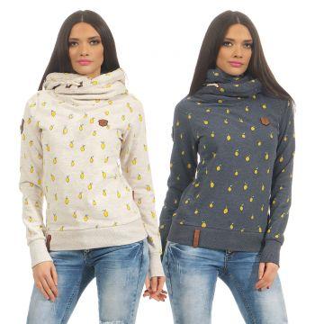 8ddd5f9b8f8841 Naketano Damen Sweatshirt I miss my friend Hoodie überschlagener Kragen  Kapuze
