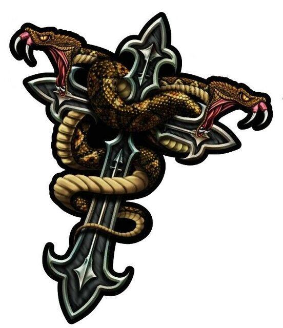 Aufkleber Kreuz mit Schlange 8 x 7 cm Sticker Tattoo Airbrush Helm
