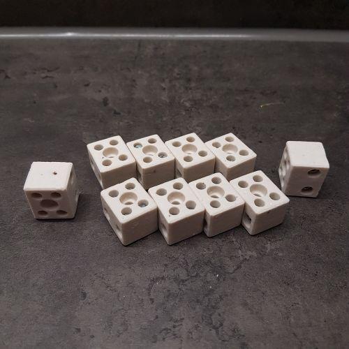 Lüsterklemme Keramik Porzellan Verbindungsklemme 2fach für 1,5-2,5mm² l 2 Stück